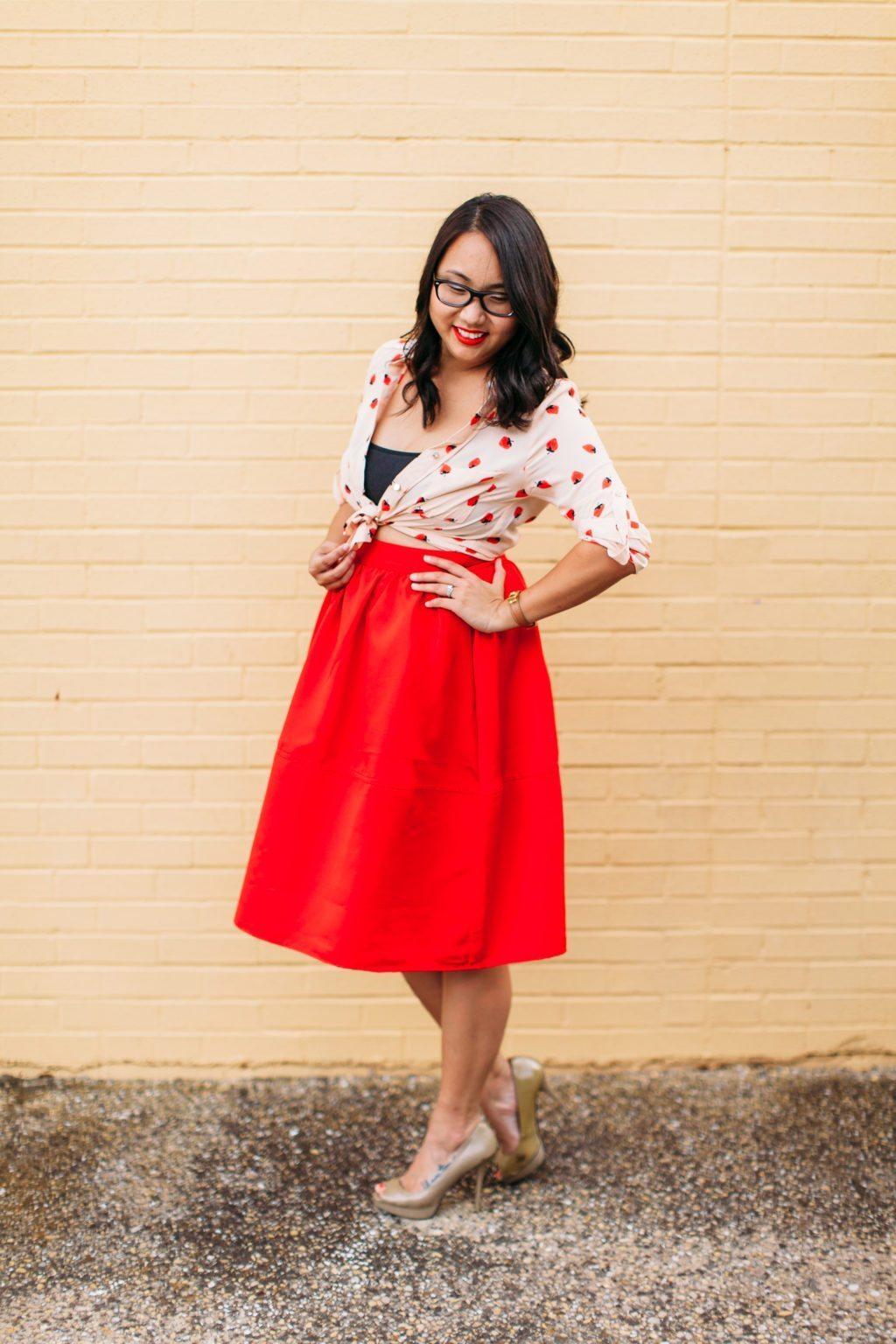 strawberry sheinside shirt red midi skirt