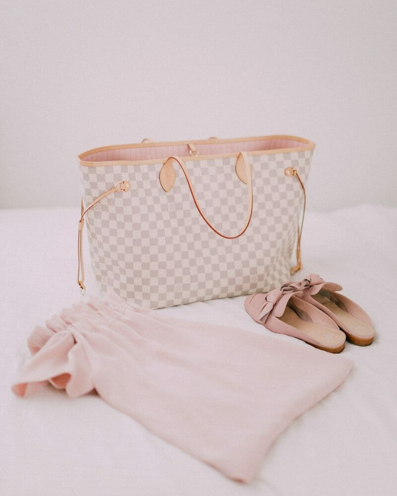Louis Vuitton Neverfull in Damier Azur with Rose Ballerine Lining